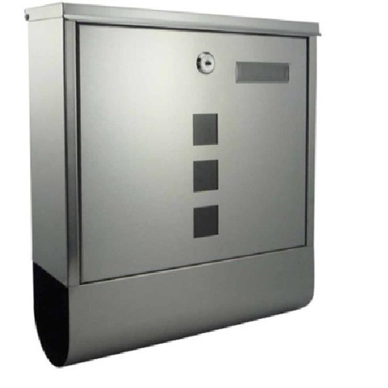 briefkasten aus edelstahl mit sichtfenster und zeitungsrolle modell 2210 ebay. Black Bedroom Furniture Sets. Home Design Ideas