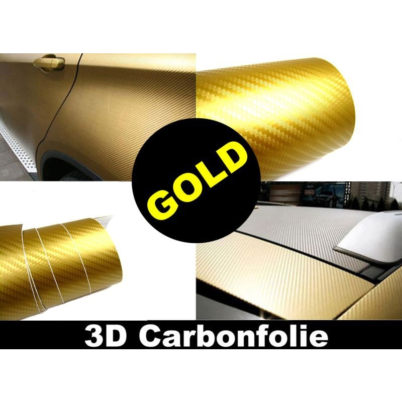 3d carbon folie gold 152cm flexibel selbstklebend carbonfolie meterware. Black Bedroom Furniture Sets. Home Design Ideas